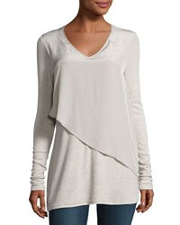 Neiman Marcus Mixed Media Asymmetric Front Tee Gray