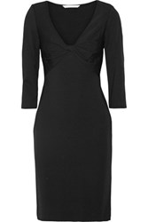 Diane Von Furstenberg Razel Twist Front Stretch Jersey Dress Black