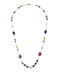 Bavna Long Sapphire And Pearl Beaded Necklace
