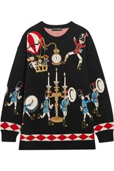 Dolce And Gabbana Embellished Intarsia Cashmere Sweater Black