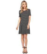 Culture Phit Elenor Striped Short Sleeve Dress Black White Women's Dress
