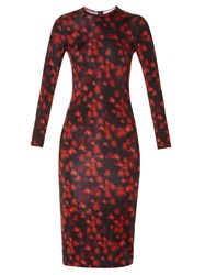 Givenchy Floral Print Long Sleeved Jersey Dress Red Multi