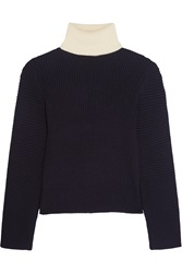 Acne Studios Bryn Two Tone Ribbed Wool Turtleneck Sweater