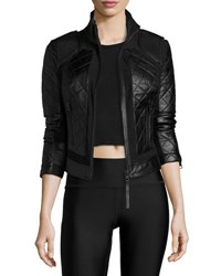 Blanc Noir Quilted Leather And Mesh Moto Jacket Black