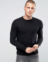 Armani Jeans Jumper With Crew Neck And Logo In Black Black