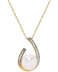 Honora Style Cultured Freshwater Pearl 9 Mm And Diamond 1 10 Ct. T.W. 18 Pendant Necklace In 14K Gold White