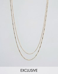 Designb London Double Chain Necklace In Gold Gold
