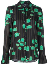 Salvatore Ferragamo Bird Cage Print Shirt Black