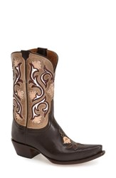 Women's Lucchese 'Flower' Western Boot Chocolate