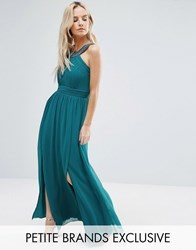Little Mistress Petite Maxi Dress With Embellished Strap Teal Blue