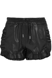 Carven Ruffled Leather Shorts Black
