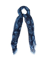 Alexander Mcqueen Skull And Badge Print Silk Blend Scarf Blue