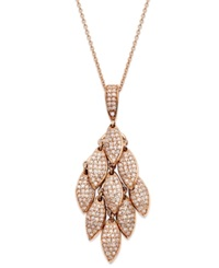 Effy Collection Pave Rose By Effy Pave Diamond Leaf Drop Pendant 9 10 Ct. T.W. In 14K Rose Gold