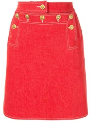 Chanel Vintage Cc Logos Skirt Red