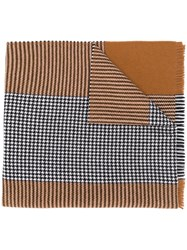 Altea Contrast Houndstooth Knit Scarf Brown