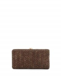 Neiman Marcus Woven Reptile Faux Leather Clutch Bag Cocoa