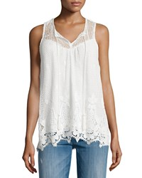 Ella Moss Thistle Sleeveless Macrame Top White