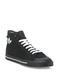 Raf Simons High Top Canvas Sneakers Black White