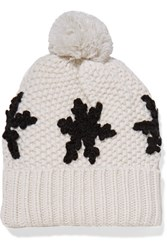 Autumn Cashmere Pompom Embellished Knitted Beanie White