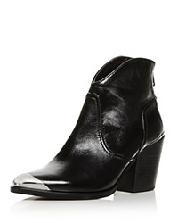 Aqua Pose Pointed Toe Leather Mid Heel Booties 100 Exclusive Black