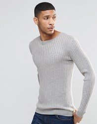 Asos Muscle Fit Jumper In Merino Wool Mix Silver Grey