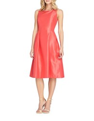 Tahari By Arthur S. Levine Plus Sleeveless Beaded Fit And Flare Dress Coral
