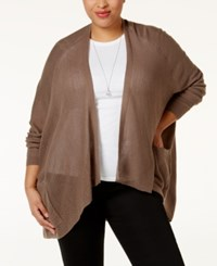 Love Scarlett Plus Size Pointelle Knit Cardigan Beige