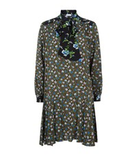 Sandro Floral Pussybow Dress Green