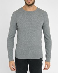 Ikks Light Grey Textured Round Neck Sweater