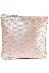 Halston Heritage Woman Sequined Satin Pouch Antique Rose