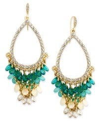 Abs By Allen Schwartz Gold Tone Ombre Stone And Crystal Chandelier Earrings