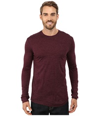 Prana Stockton Long Sleeve Crew Black Plum Men's Long Sleeve Pullover Purple