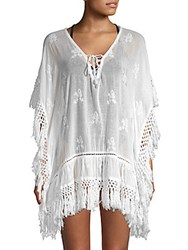 Saks Fifth Avenue Embroidered Fringe Cover Up Dress White