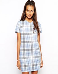 The Laden Showroom X Renee London Check T Shirt Shift Dress Blue Check