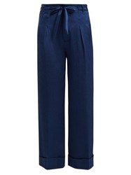 Roland Mouret Perkins Hammered Stretch Silk Wide Leg Trousers Blue