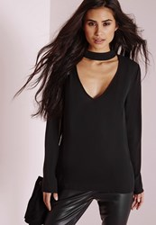 Missguided Choker Plunge Cut Out Blouse Black