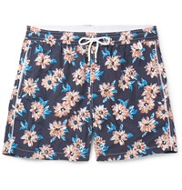 Isaia Slim Fit Mid Length Floral Print Swim Shorts Navy