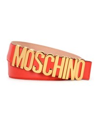 Moschino Large Logo Adjustable Leather Belt Red Gold