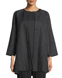 Eileen Fisher Shimmer Jacquard Long Open Front Jacket Petite Black