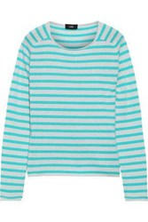Line Woman Jackie Striped Cashmere Sweater Turquoise