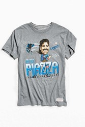 Mitchell And Ness Los Angeles Dodgers Mike Piazza Caricature Tee Grey
