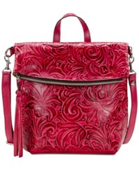 Patricia Nash Burnished Tooled Luzille Convertible Backpack Pink
