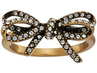 Marc Jacobs Bow Pave Twisted Ring Crystal Antique Gold Ring Clear