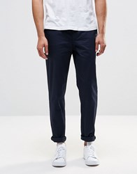 Pull And Bear Pullandbear Slim Chinos In Navy Blue Navy