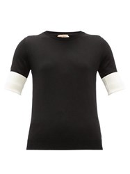 N 21 No. Contrast Sleeve Cotton Sweater Black