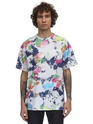 Moschino Logo Paint Printed Cotton T Shirt Multicolor
