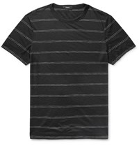 Theory Gaskell Slim Fit Striped Modal Blend Jersey T Shirt Black