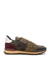 Valentino Camouflage Canvas And Suede Sneakers In Green Abstract