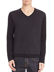 Saks Fifth Avenue Merino Wool Houndstooth Sweater Black