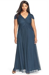 Plus Size Women's Adrianna Papell Stretch Tulle A Line Gown